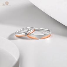 Sang Diamond Wedding Ring in 18K White and Rose Gold / Platinum (Pair)
