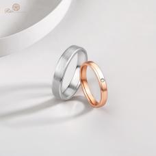 Hwan Diamond Wedding Ring in 18K White and Rose Gold / Platinum (Pair)
