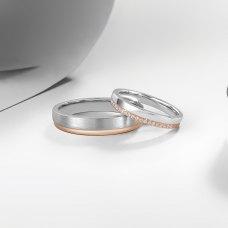 Vinyl Diamond Wedding Ring 18K White and Rose Gold(Pair)