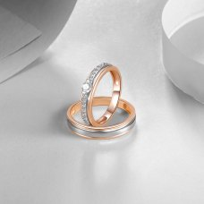 Orville Diamond Wedding Ring 18K White and Rose Gold(Pair)
