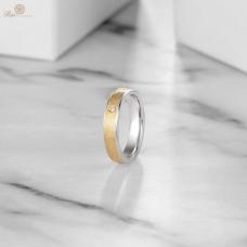 Clonis Diamond Wedding Ring 18K White & Yellow Gold
