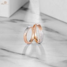Ambez Diamond Wedding Ring 18K White & Rose Gold(Pair)