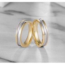 Raxi Diamond Wedding Ring 18K White & Yellow Gold(Pair)