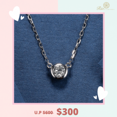 Unique Luv Diamond Necklace18K White Gold