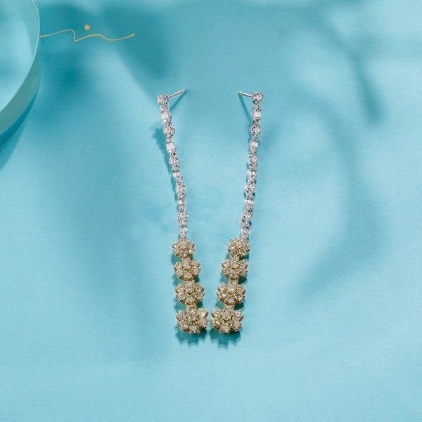 Blissen Diamond Earring 18K White & Yellow Gold