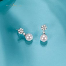 Warinel Pearl Diamond Earring 18K White Gold