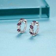 Sieed Ruby Diamond Earring 18K White Gold