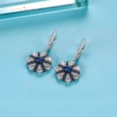 Maysie Blue Sapphire Diamond Earring 18K White & Black Gold