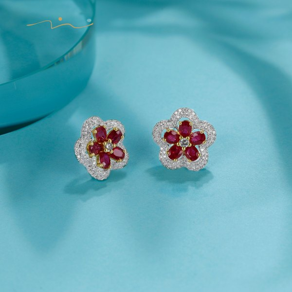 Rivien Ruby Diamond Earring 18K White Gold