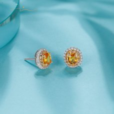 Gombin Orange Sapphire Diamond Earring 18K White Gold