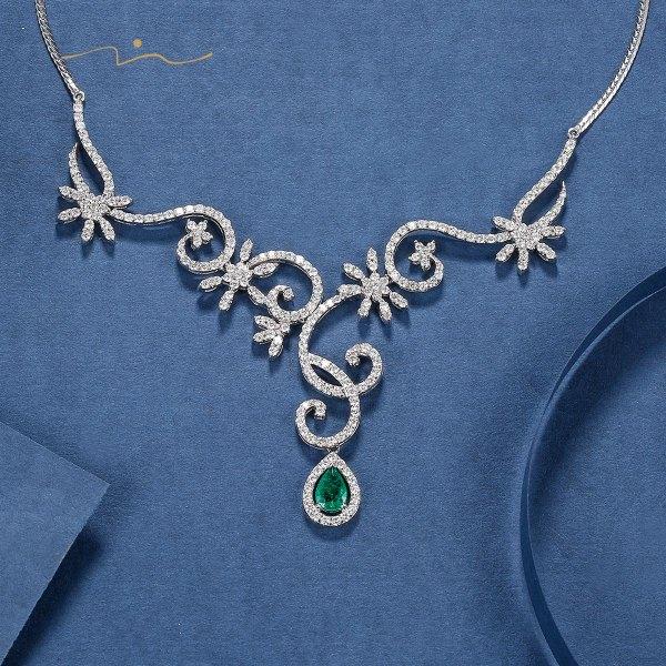 Garling,I Emerald Diamond Pendant 18K White Gold