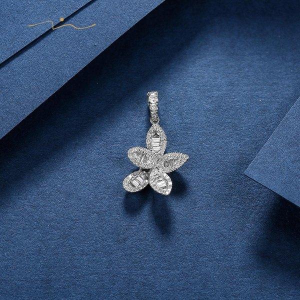 Duvania Diamond Pendant 18K White Gold