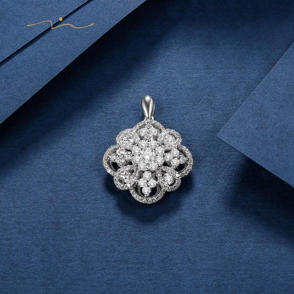 Lieu'vien Diamond Pendant 18K White Gold