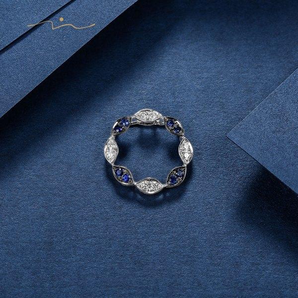 Tabalin Blue Sapphire & diamond Pendant 18K White & Black Gold