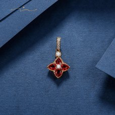 Tenns Orange Sapphire Diamond Pendant 18K Yellow Gold