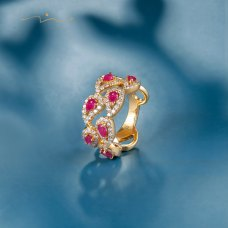 Fiesla Ruby Diamond Ring 18K Yellow Gold