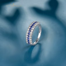 Meky Blue Sapphire Diamond Ring 18K White Gold