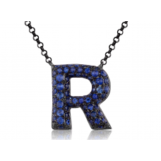 R-Style Pave Diamond Necklace 18K Black Gold
