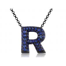 R-Style Pave Diamond Necklace 18K Black Gold