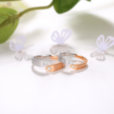 Lienna Diamond Wedding Ring 18K White & Rose Gold (Pair)