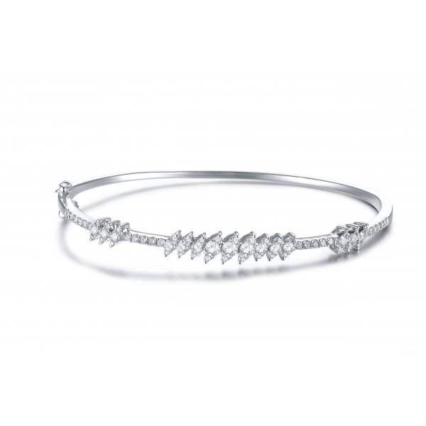 Monte Channel Diamond Bangle 18k White Gold