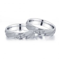 Aletta Diamond Wedding Ring in 18K White Gold(Pair)