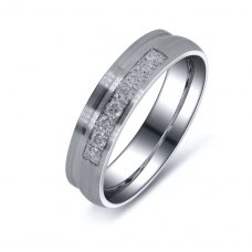 Rocovinna Diamond Wedding Ring in 18K White Gold(Pair)