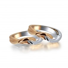 Beliza Diamond Wedding Ring in 18K White & Rose Gold(Pair)