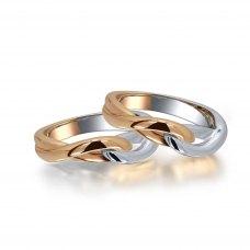 Beliza Diamond Wedding Ring in 18K White & Rose Gold(Pair)