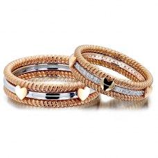 Quins Diamond Wedding Ring in 18K White Gold(Pair)