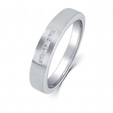 Zelda Diamond Wedding Ring in 18K White Gold(Pair)