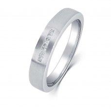 Zelda Diamond Wedding Ring in 18K White Gold(Pair)