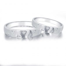 Elda-Ace Diamond Wedding Ring in 18K White Gold(Pair)