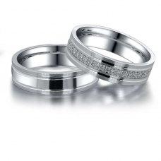 Mia Diamond Wedding Ring in 18K White Gold(Pair)