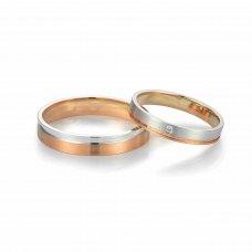Mial Diamond Wedding Ring 18K White & Rose Gold(Pair)