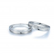 Gianna Diamond Wedding Ring 18K White Gold (Pair)
