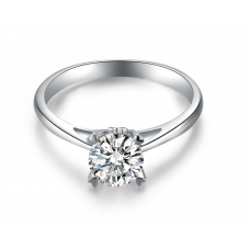 Lopple Solitaire Engagement Ring Casing 18K White Gold