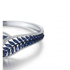 Leafy Sapphire Diamond Bangle 18K White Gold