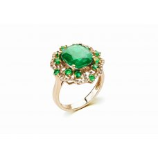 Atum Prong Emerald Diamond Ring