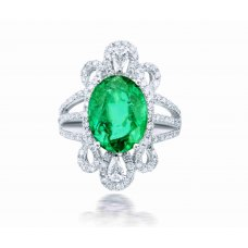 Bes Prong Emerald Pear Diamond Ring