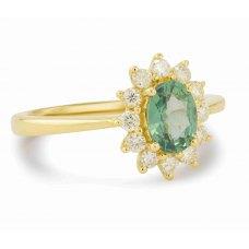 Amun Green Garnet Diamond Ring