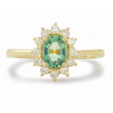 Amun Green Garnet Diamond Ring