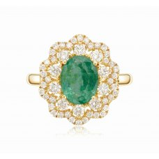 Ptah Prong Emerald Diamond Ring