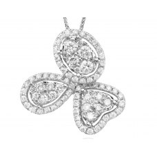 Trebol Channel Diamond Pendant 18K White Gold