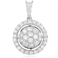 Boton Cluster Diamond Pendant 18K White Gold