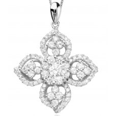 Belleza Channel Diamond Pendant 18K White Gold