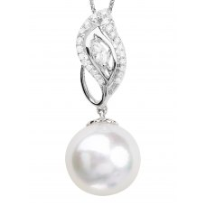 Pearl Marquise Diamond Pendant 18K White Gold