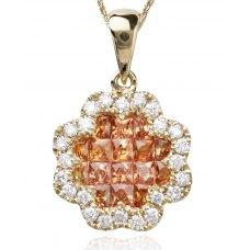 Saffier Sapphire Diamond Pendant 18K Yellow Gold