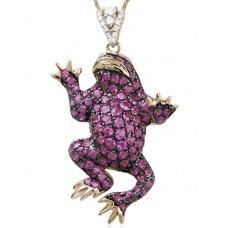 Frosch Ruby Diamond Pendant 18K Black Gold