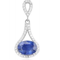 Oval Kyanite Diamond Pendant 18K White Gold